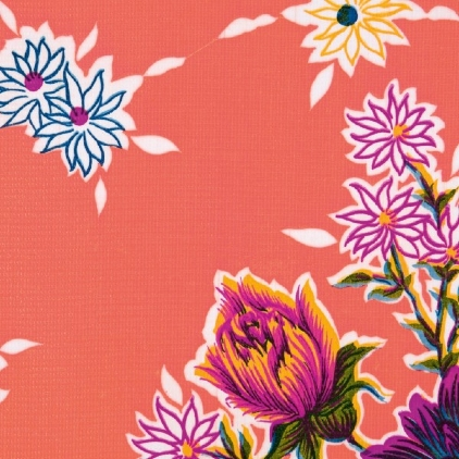 Kitsch Kitchen Oilcloth from Mexico - Crisantemos Rose-486