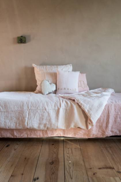 Bed & Philosophy pure linen Molly Cushion in Blush (available to order)