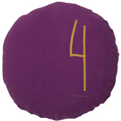 Bed & Philosophy pure linen Round 'Number' cushion in Purple