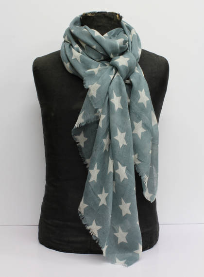 Wool & Silk Scarf - Green Star (out of stock)