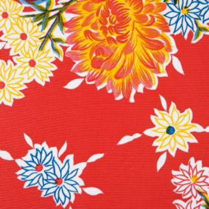 Kitsch Kitchen Oilcloth - Crisantemos Red (sorry currently not available)