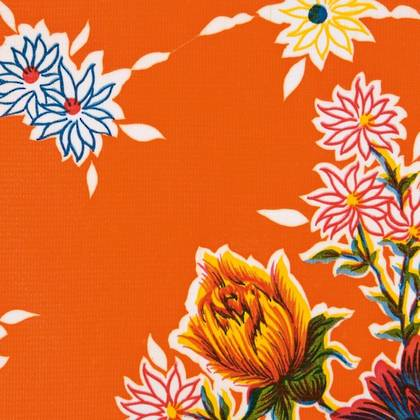 Kitsch Kitchen Oilcloth - Crisantemos Orange (out of stock)