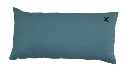 Large Pure linen Lovers cushion in Mineral 55 x 110cm