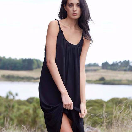 Laing Victoria Silk Nightgown in Black