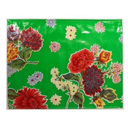 Oilcloth Placemats - set of 4 - Crisantemos green