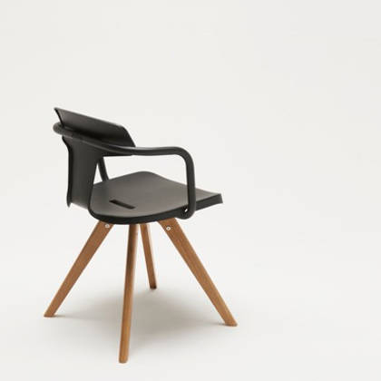 Tolix T14 Chair with Wood legs