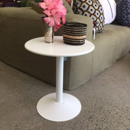 Tolix Pedestal Coffee Table - white & terracotta available