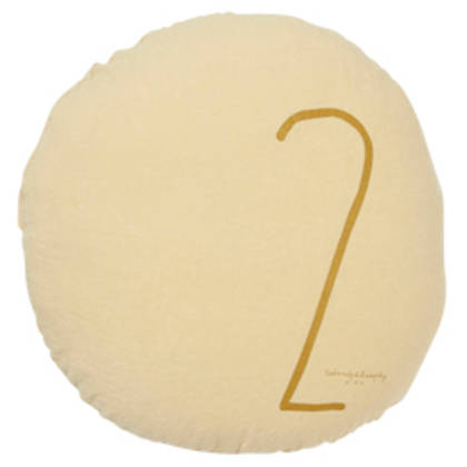 Bed & Philosophy pure linen Round 'Number' cushion in Popcorn