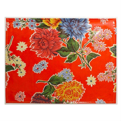 Oilcloth Placemats - set of 4 - Crisantemos orange (sorry not currently available)