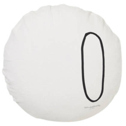 Bed & Philosophy pure linen Round 'Number' cushion in Plume