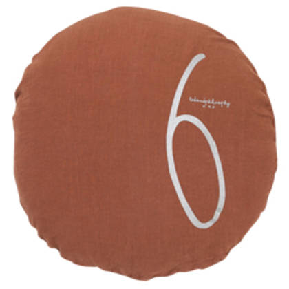 Bed & Philosophy pure linen Round 'Number' cushion in Ambre