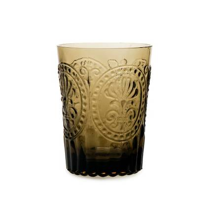 Fleur de Lys Brown Glass tumbler - set of 4