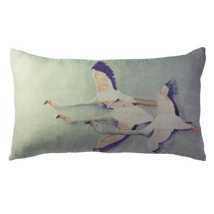 Genevieve Levy Flamingo Vert de Gris Cushion 50 x 30cm  (available to pre-order)