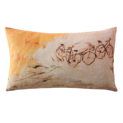Genevieve Levy A Bicyclette Cushion 50 x 30cm (available to order)