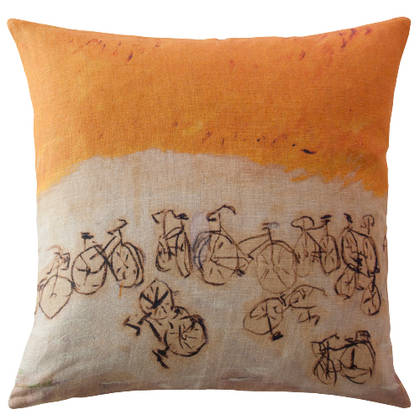 Genevieve Levy A Bicyclette Cushion 55cm (available to order)