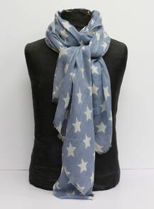 Wool & Silk Scarf - Blue Star