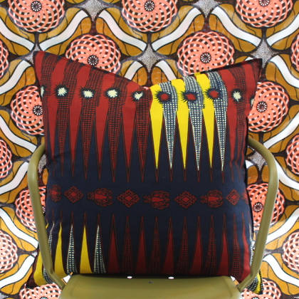 African Wax Print Cushion - Storm