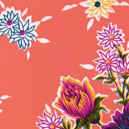 Kitsch Kitchen Oilcloth - Crisantemos Rose