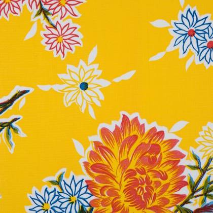Kitsch Kitchen Oilcloth - Crisantemos Yellow (out of stock)