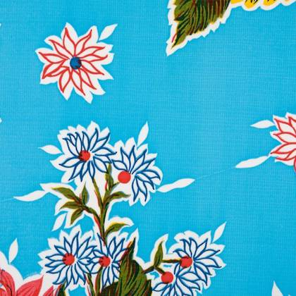 Kitsch Kitchen Oilcloth - Crisantemos Blue (out of stock)