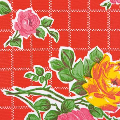 Kitsch Kitchen Oilcloth - Rosedal Red