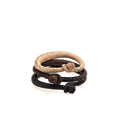 Leather Braided Bracelet - brown