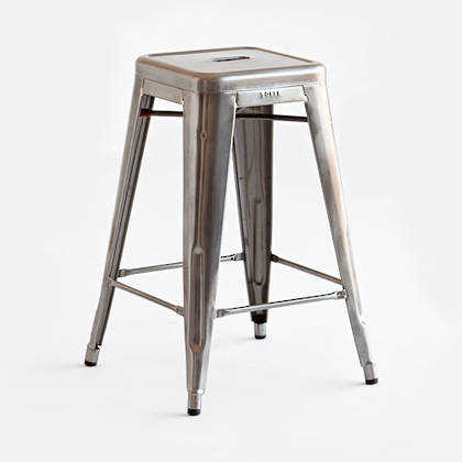 Tolix 65cm Barstool - raw varnished finish