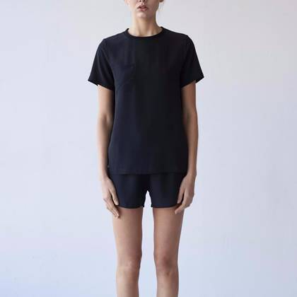 Laing James Silk Sleep Tee in Black