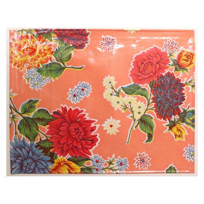 Oilcloth Placemats - set of 4 - Crisantemos Rose