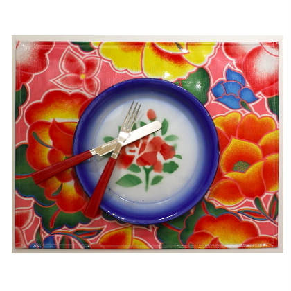 Oilcloth Placemats - set of 4 - Tehuana Pink (out of stock)