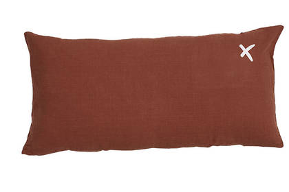 Large Pure linen Lovers cushion in Ambre 55 x 110cm