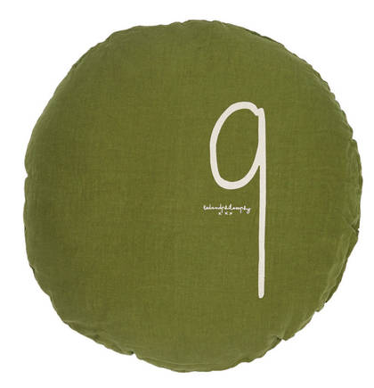 Bed & Philosophy pure linen Round 'Number' cushion in Jungle