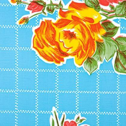 Kitsch Kitchen Oilcloth - Rosedal Blue (out of stock)