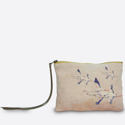 Maison Levy Linen Pouch - Flamingo Rose (sold out)